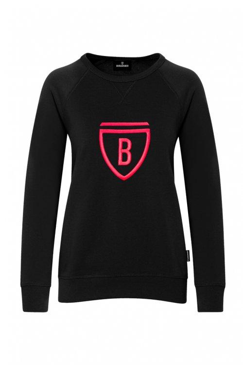 Burggruber Damen Raglan Sweatshirt schwarz/neon pink