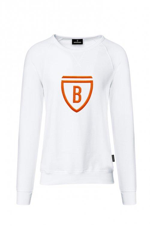 Burggruber Herren Raglan Sweatshirt weiß/neon orange