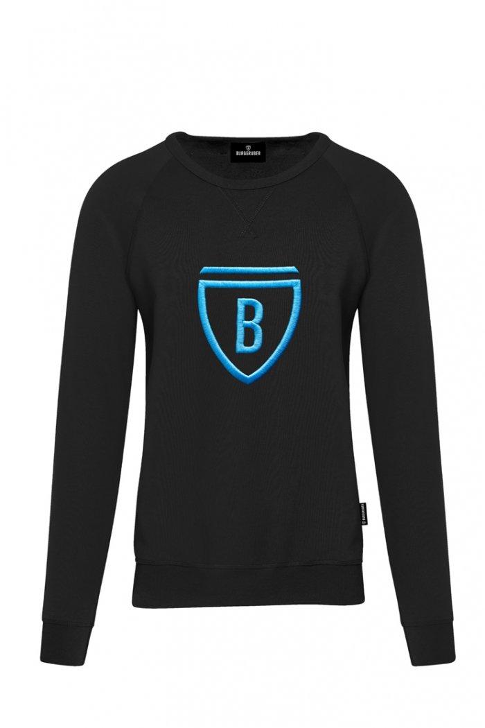 Burggruber Herren Raglan Sweatshirt schwarz/blau